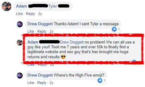 Adam Facebook testimonial 1